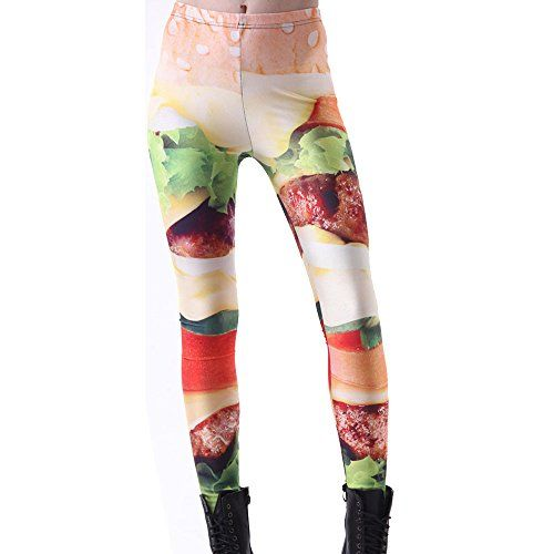 Your Gallery Womens Bright Color Food Print Leggings Stretch Running Punk Pants -- You can find more details by visiting the image link.
