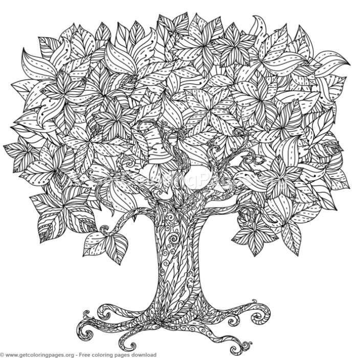 2 Zentangle Tree Coloring Pages Free Downloads Coloring Coloringbook Coloringpages Zentangle Coloring Books Black And White Tree Black And White Leaves