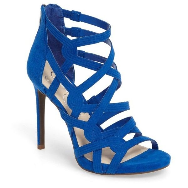 Women's Jessica Simpson Rainah Sandal (£38) ❤ liked on Polyvore featuring shoes, sandals, heels, poppy blue faux suede, blue heeled sandals, blue heeled shoes, heels stilettos, stiletto high heel shoes and stiletto heel sandals