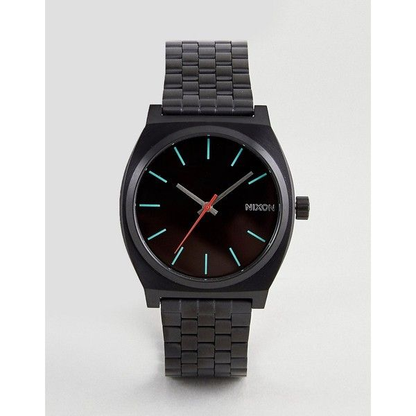 Nixon Time Teller Bracelet Watch In Black featuring polyvore women's fashion jewelry watches black mens digital sport watches mens digital watches mens sport watches mens digital sports watches mens sports watches