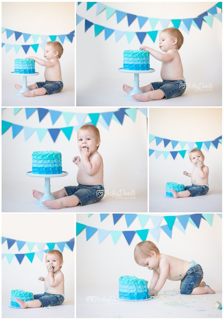 Cake smash, cake smash and splash, boy cake smash, blue tone cake smash, savage bone backdrop, blue and teal cake smash, indoor one year shoot, Ashley Danielle Photography: Seattle Baby Photographer | Maple Valley, WA