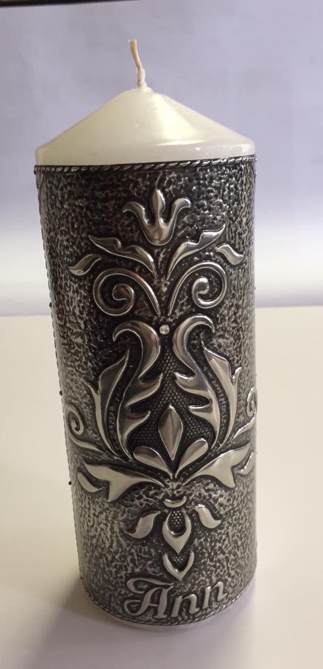 Pewter candle made by Heather van den Bergh