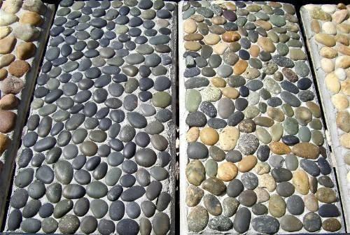 River rock in cement  Whats Under Foot in 2019  River rock patio Rock walkway River rock path