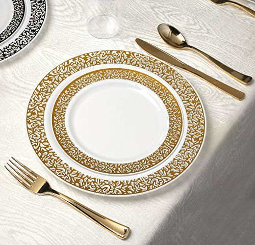 kaya collection lace gold disposable plastic dinnerware party package 60 person package includes dinner plates plates gold cutlery and