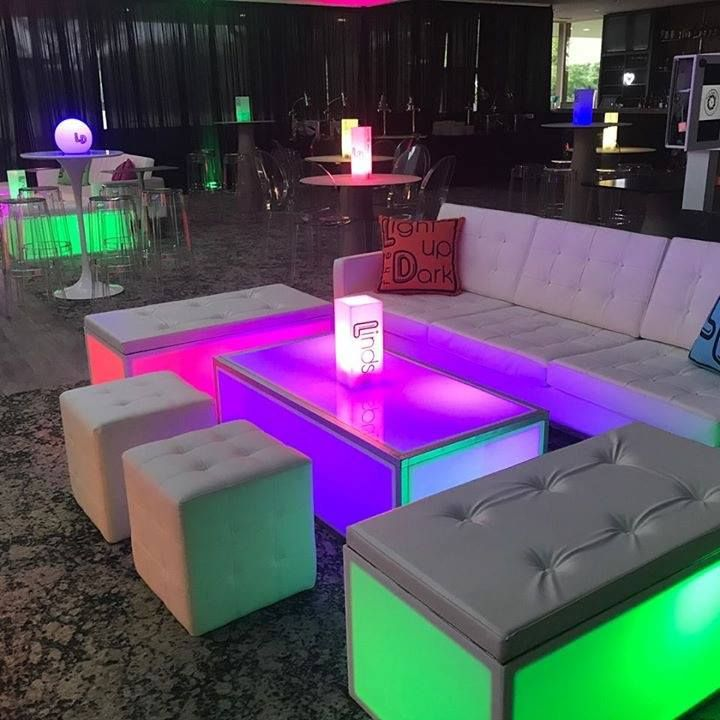 Our Custom Led Bench Ottomans Led Tables And Led Orbs In Action At A Recent Mitzvah Eventdesign Rental Furniture Outdoor Furniture Sets Mitzvah Decor