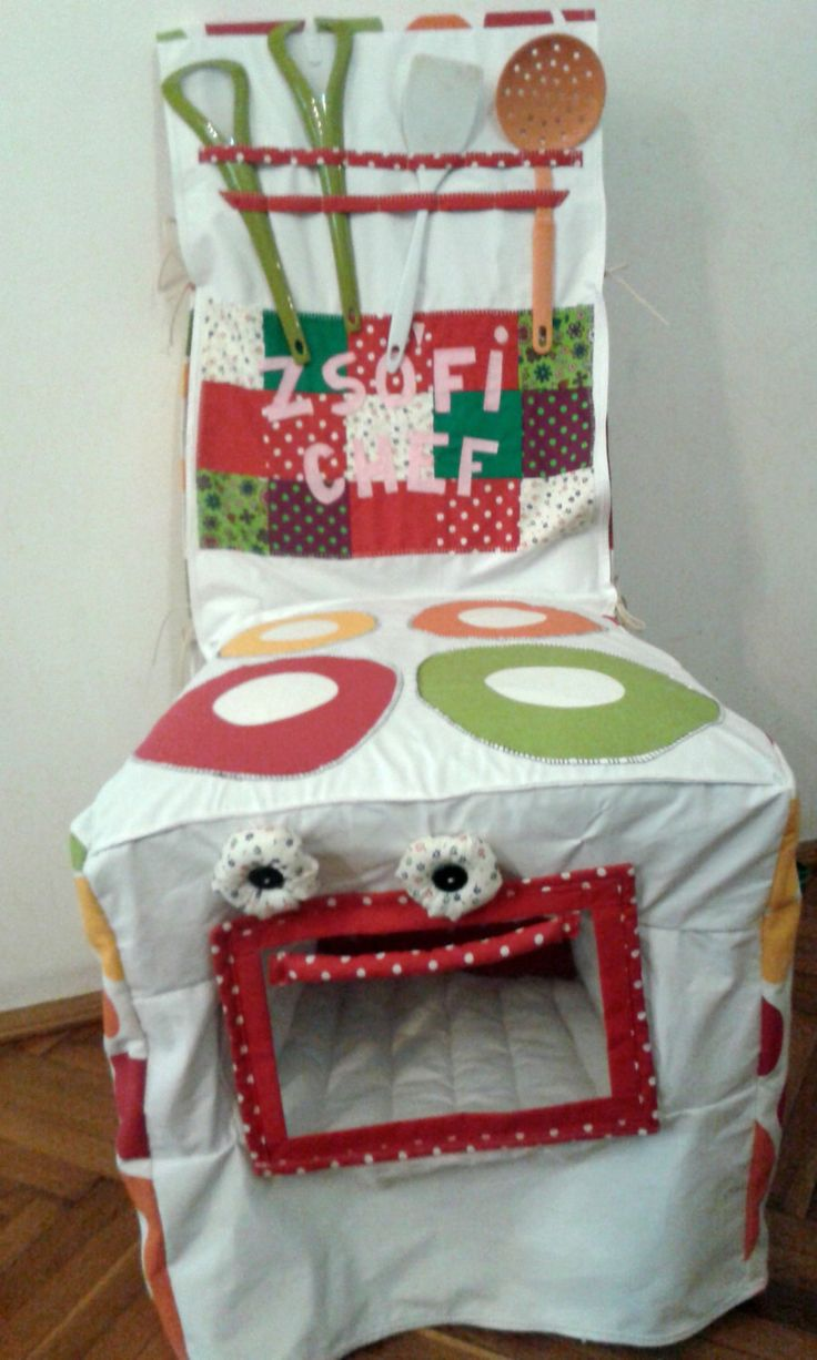Oven - textile toy, little chef, cooking role playing, toddler toy, kitchen, cooking, fit and attachable on a chair by BabamBabywearing on Etsy