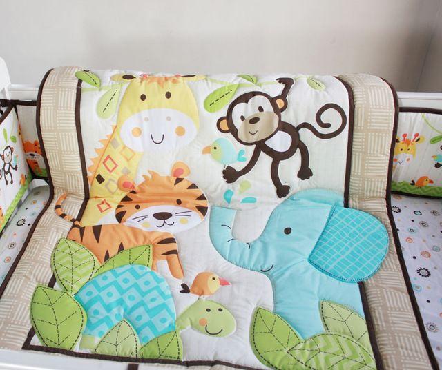 10 unidades cuna lecho del bebé recién nacido conjunto manta bordado bosque animal del bebé Nursery tope del pesebre edredón sábana ajustable volante de polvo