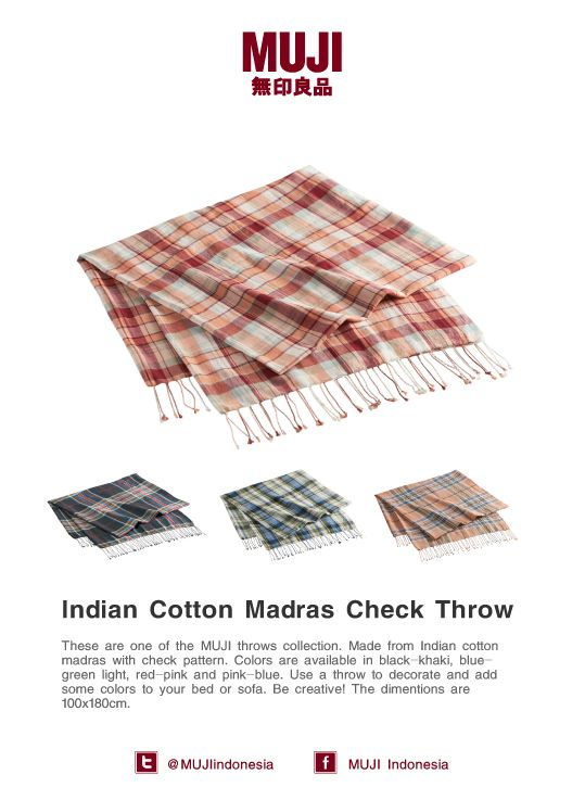 [Indian cotton madras check throw] Use a throw to decorate and add some colors to your bed or sofa. Be creative!