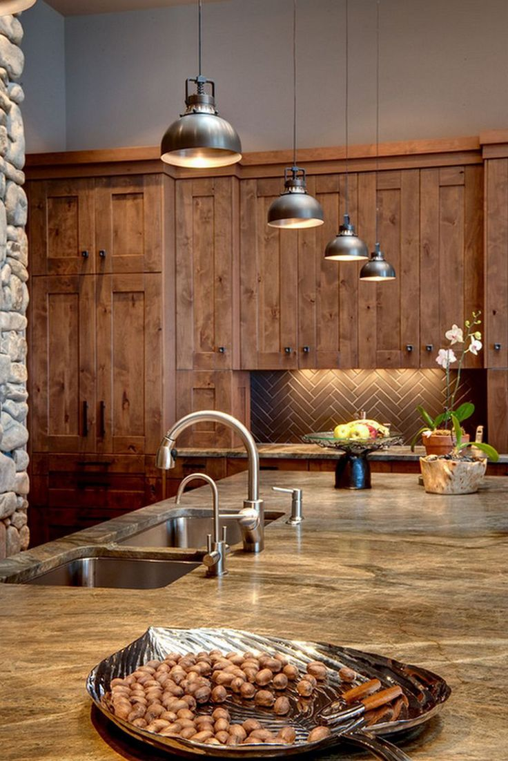 Industrial Mini Pendant Lighting Over Kitchen Island