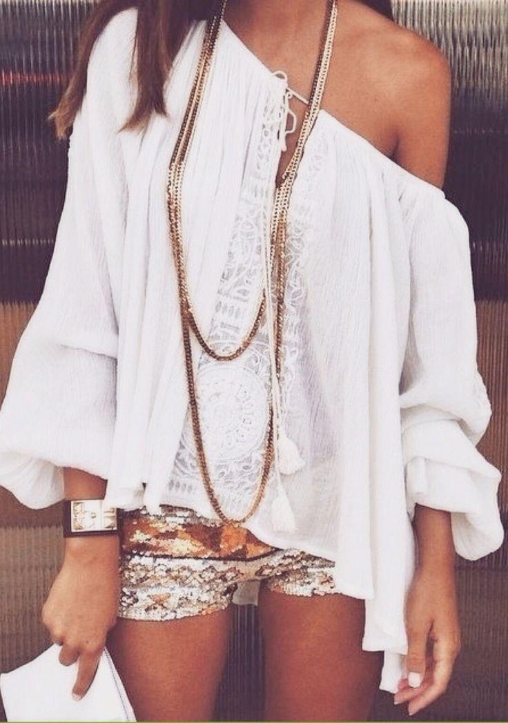 Sequined shorts + boho blouse