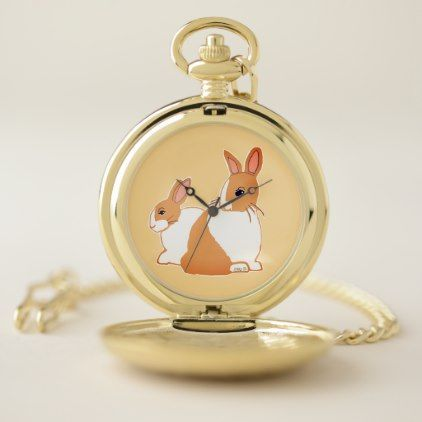 Blonde Dutch Rabbits Honey Pocket Watch - diy cyo customize create your own personalize