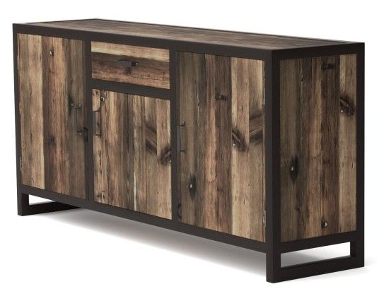 Bahut 3 portes Koroco de style industriel en bois et métal pas cher prix Buffet Mobilier Moss 759.00 €
