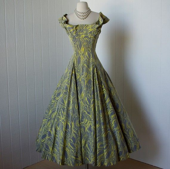 vintage 1940's dress ...couture designer CEIL CHAPMAN avant-garde print circle dress shelf bust ...old hollywood glam
