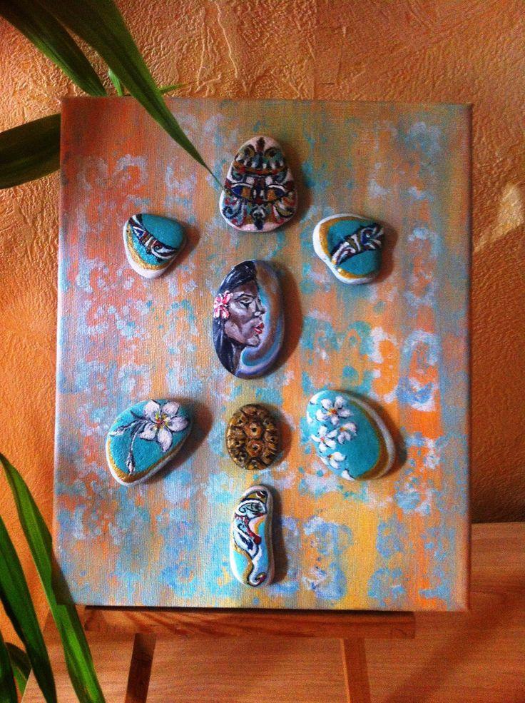 Tableau - inspiration Tahiti , galets peints a la main : Décorations murales par…