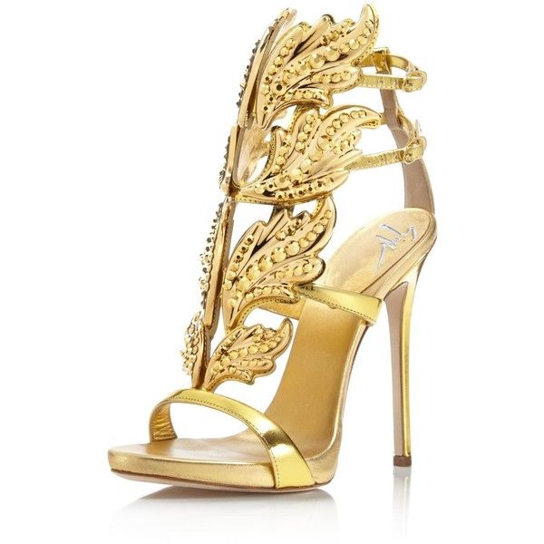Giuseppe Zanotti Coline Cruel Embellished Wing High Heel Sandals ($2,235) ❤ liked on Polyvore featuring shoes, sandals, shooting oro, evening wear shoes, embellished shoes, winged sandals, giuseppe zanotti sandals and giuseppe zanotti