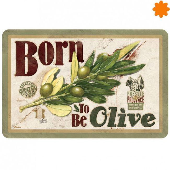 """Te presentamos el <strong>original mantel</strong> de plástico dedicado al aceite de oliva. Este individual para la mesa es ideal para complementar la decoración en ambientes rústicos. Este modelo tiene el título <em>""""Born to be olive"""".</em>Descubre ahora todos los modelos disponibles de individuales para la mesa."""