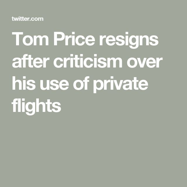 Tom Price resigns after criticism over his use of private flights