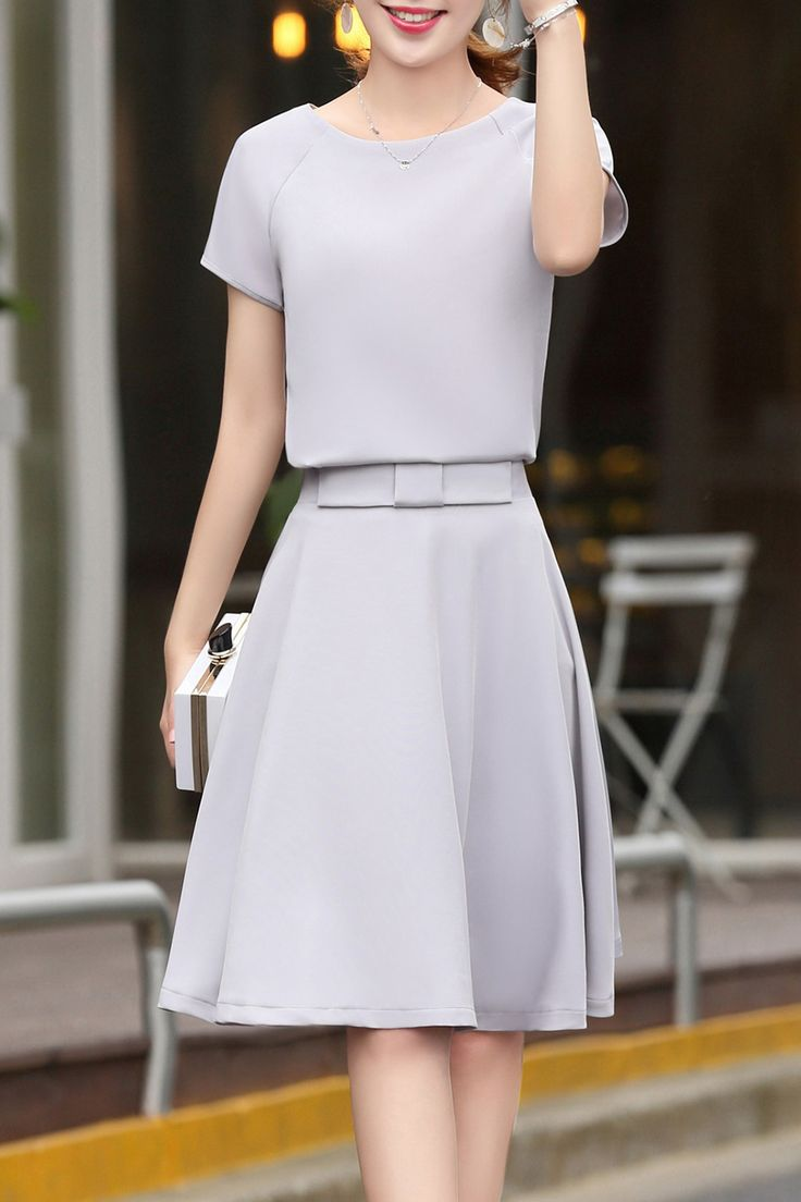Luomanka Gray Solid Color Tee And Skirt Suit | Skirts at DEZZAL