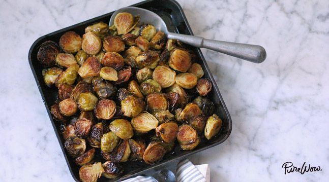 Spicy Roasted Brussels Sprouts  1½ pounds brussels sprouts  ½ cup extra-virgin olive oil  ¼ cup rice-wine vinegar  ¼ cup honey  2 tablespoons Sriracha, or more to taste  Kosher salt and freshly ground black pepper