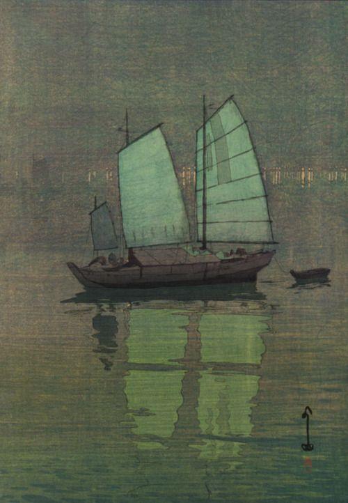 1926,Hiroshi Yoshida (Japanese, 1876-1950) ~ Blue Sailing Boats.