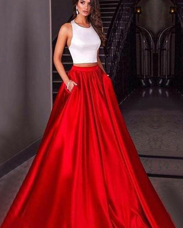 Simple White   Red Satin Halter Two Piece Prom Dress with Pockets PM1418 878f6cbab
