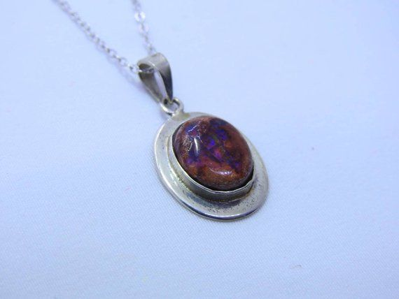 Natural Amethyst crystal set in .925 Sterling Silver with opal Pendant Handmade
