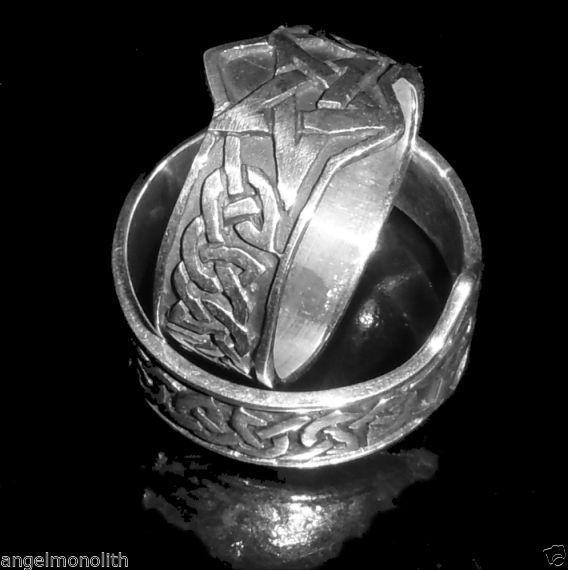 Kelten Pentagramm Band Ring 925 Sterling Silber Magie Celtic Schutz Kraft Magie
