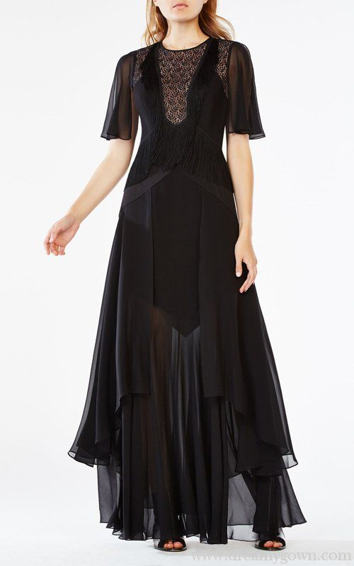 2016 Chiffon Lace Sheer Runway Meera Bcbg Dress Black Bcbg
