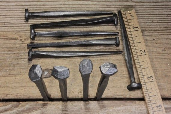 """10 Rose head 3"""" nails square wrought iron vintage rustic Decorative historic"""