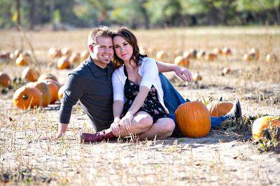 Fall Pumpkin Patch Engagement Photos