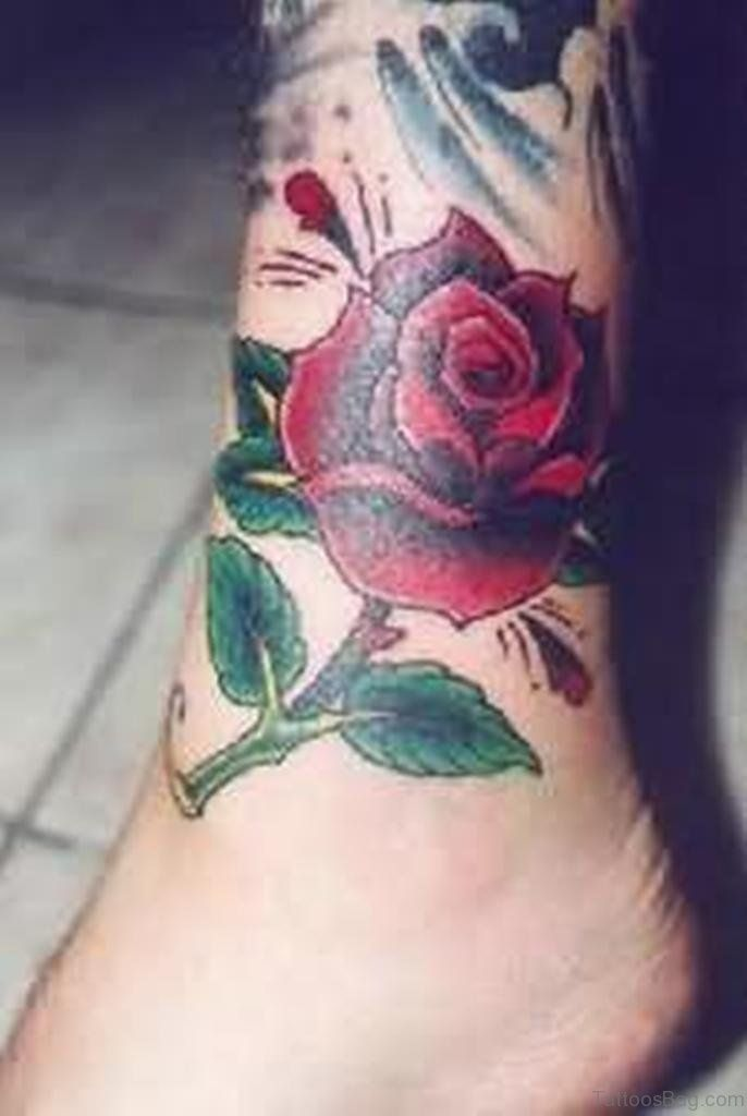 Red Rose Ankle Tattoo