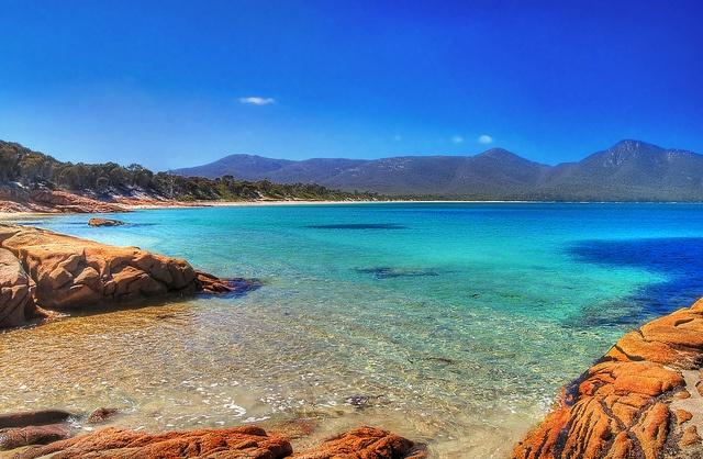 A beautiful beache on the Freycinet peninsula near Bicheno on the Tasmanian east coast.