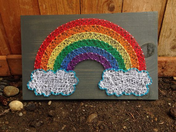 MADE TO ORDER Rainbow String Art Grey Stain by MadeByTheNeedle