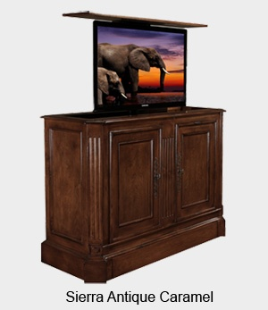 The Sierra TV Lift Cabinet In Antique Caramel Oozes Character And Old Style Charm Hidden Tv CabinetPop Up