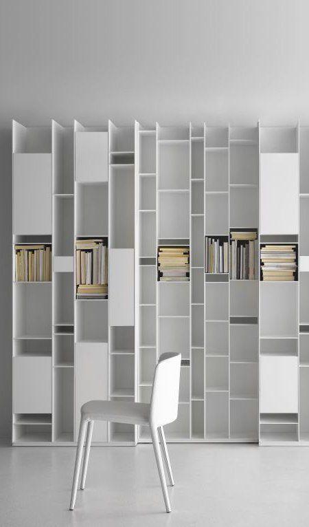 Bookcase | librero con nichos y puertas en mdf pintado poliuretano blanco