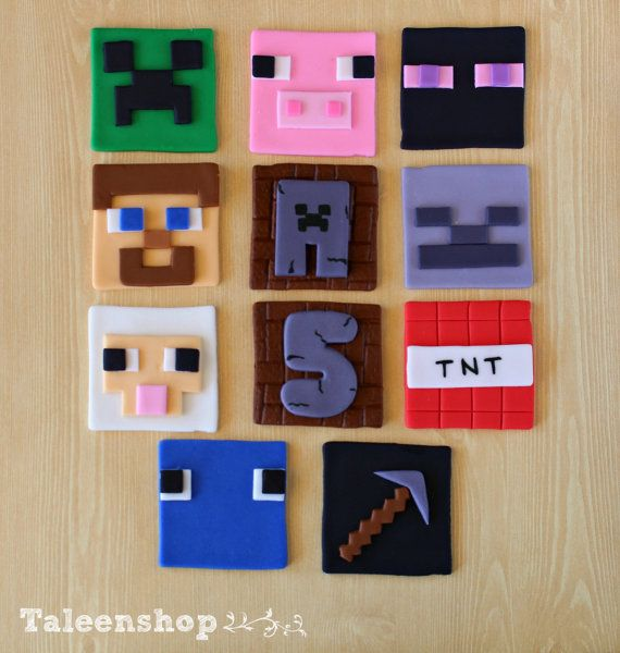 Minecraft cupcake toppers /cookies toppers / fondant by Taleenshop, $24.00