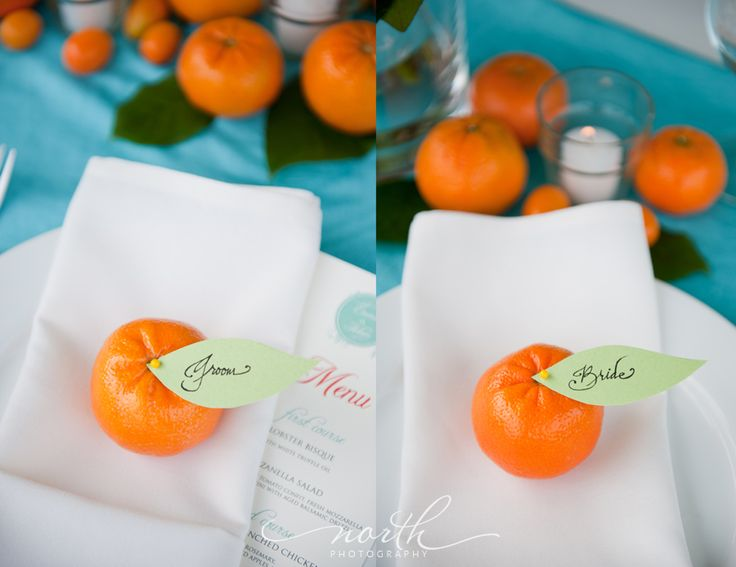 Clementines for place cards - adorable!