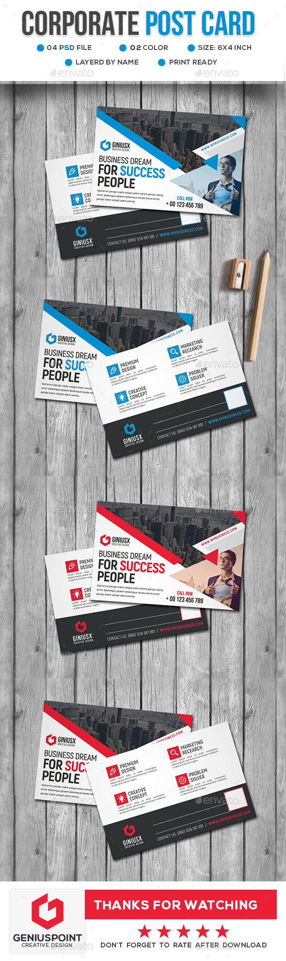 Corporate Postcard Template PSD