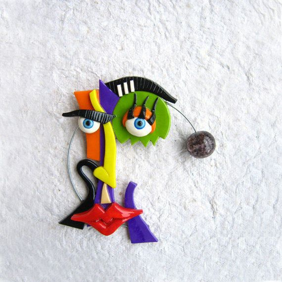 Reflection  polymer clay brooch by trampsandglams on Etsy, $45.00