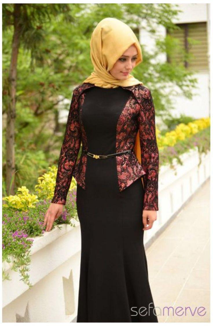 Sefamerve Tesettür Abiye Elbiseler PDY 4707-03 Fuşya