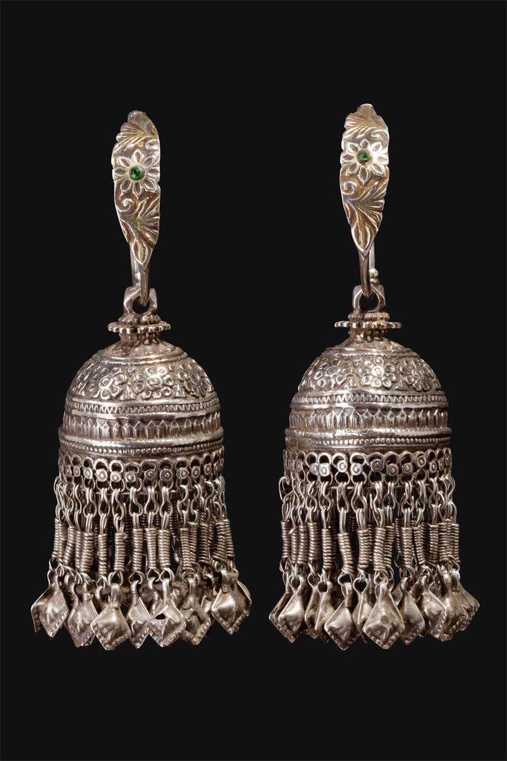 India | Karanphul Jhumka earrings.  Worn by women, predominately in Rajasthan and in the northern regions of the country. | ca. First half 1900s |