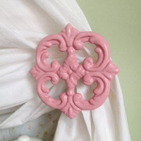 Set of 2 Cotton Candy Pink Iron Floral Curtain by TheChicDecorShop, $25.95