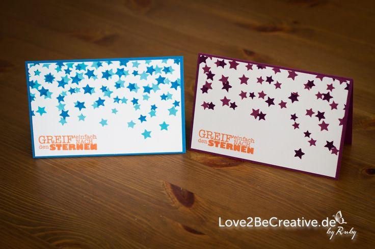 """Karte mit der neuen Stampin' Up! Dekoschablone """"Sterne"""" Card made with the new Stampin' Up! decorative masks """"Stars""""  Pazifikblau, Türkis, Mandarinorange, Alles nur Sprüche"""