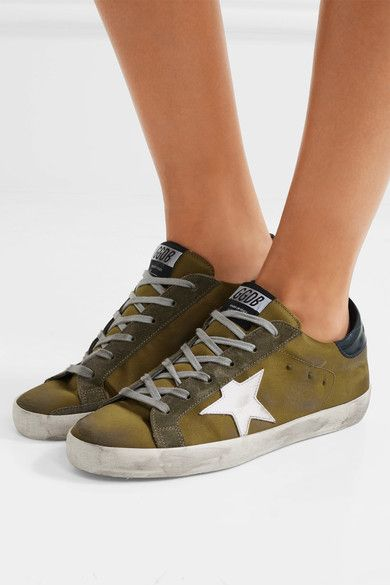 Golden Goose Deluxe Brand - Super Star Distressed Suede And Leather-trimmed Satin Sneakers - Army green