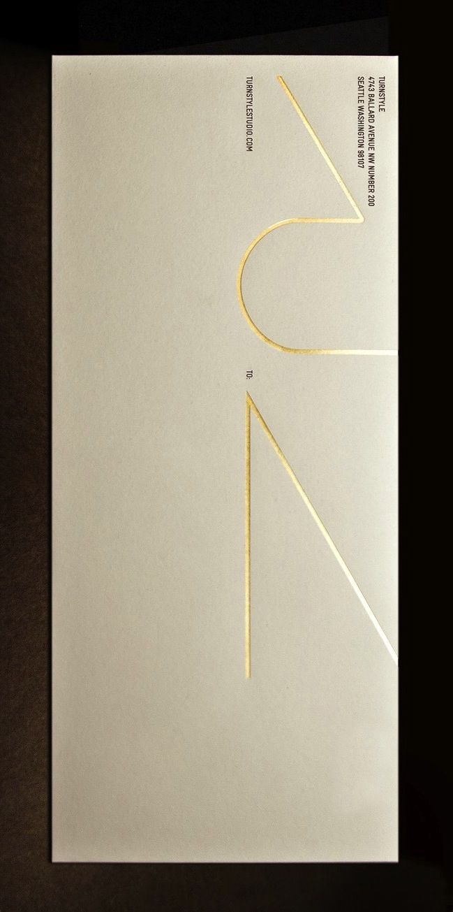 Turnstyle - Stationery - business card gilded with gold leaf, complemented by gold foil stamp.