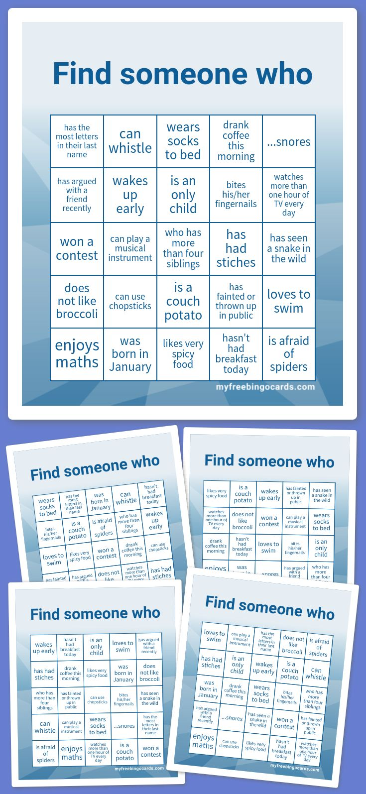 Play Virtual Find Someone Who Bingo With Your Friends For Free On Any Device Customize The Bingo Cards And Generate Printab Bingo Cards Free Bingo Cards Bingo