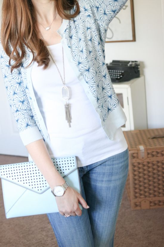 love the sweater, the clutch, the jeans and the entire look! July Trunk Club Review