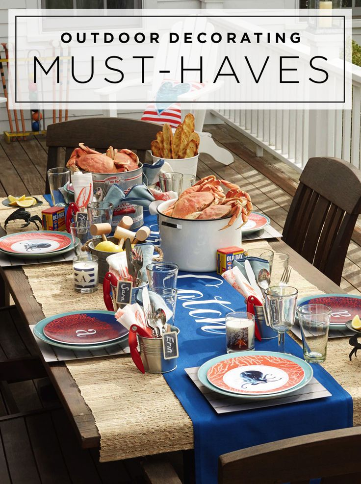 Spruce up your patio with these outdoor decorating must-haves. Inspire guests with a Cape Cod Escape thoughtfully personalized with a coastal theme for the perfect weekend outdoor meal. | Shutterfly