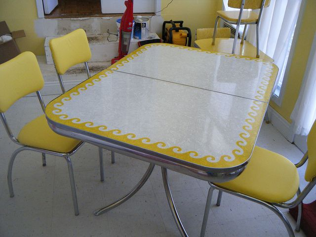 formica table, yellow waves