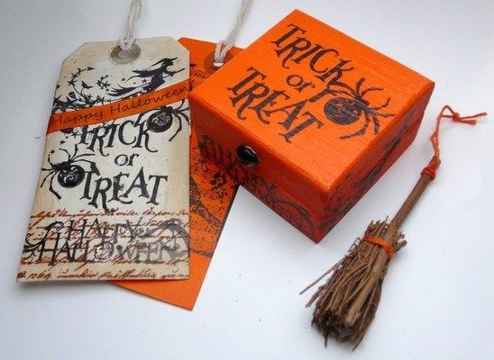 Halloween Keepsake Box & Gift Tag & Witches Broom from Miss Bohemia.